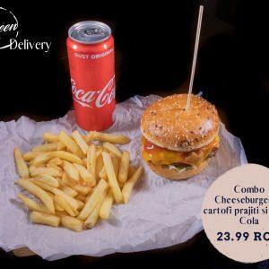Combo Cheeseburger cu cartofi prajiti si Coca Cola