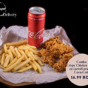 Combo Aripioare Crocante cu cartofi prajiti si Coca Cola