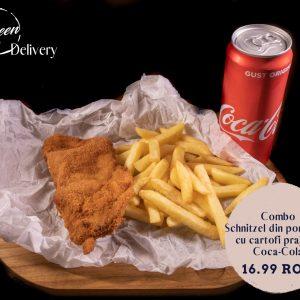 Combo Snitzel de pui cu cartofi prajiti si Coca Cola