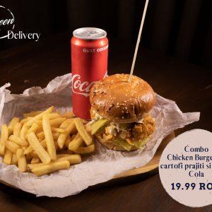 Combo Chicken Burger cu cartofi prajiti si Coca Cola